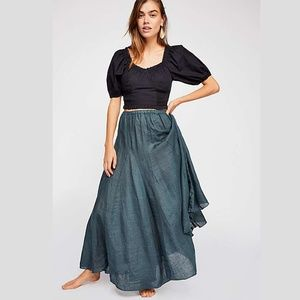 CP Shades Free People Lily Linen Maxi Skirt